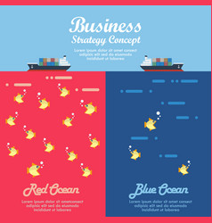 Red ocean and blue ocean business strategy vector
