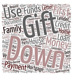 Refinance mortgage tips down payment with gift vector