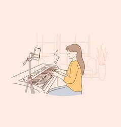Remote distant music lesson concept vector