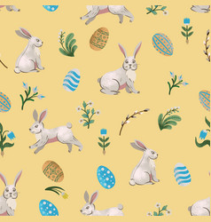 Rustic seamless pattern with trees rabbits eggs vector