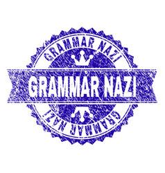 Scratched textured grammar nazi stamp seal with vector