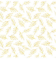 Seamless pattern gold glitter leaves vector