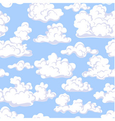 seamless pattern with floating clouds in blue sky vector image