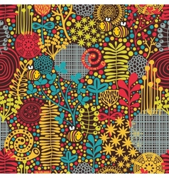 Seamless pattern with flowers and bees vector image