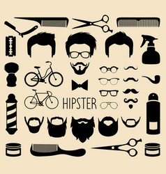 set dress up with men hipster haircuts vector image