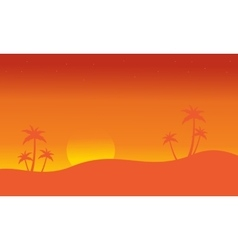 Silhouette of seaside with palm scenery vector
