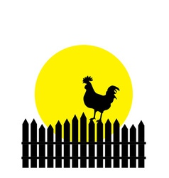 Silhouette rooster vector