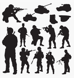Silhouettes army vector