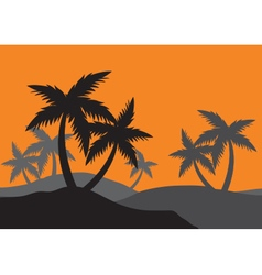 Silhouettes of palm forest vector