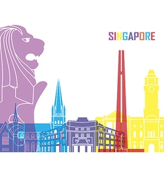 Singapore skyline pop vector