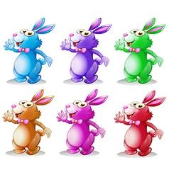 Six colorful bunnies vector