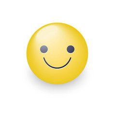 slightly cartoon smiling yellow face smiling fun vector image