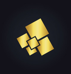 Square gold digital logo vector