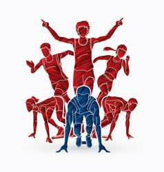 start running people running action vector image