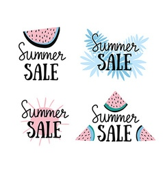 summer labels with hand drawn slices of watermelon vector image
