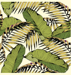 Summer seamless pattern with tropical leaves and vector