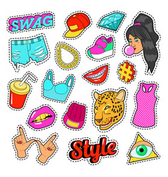 Swag fashion elements with hands lips vector