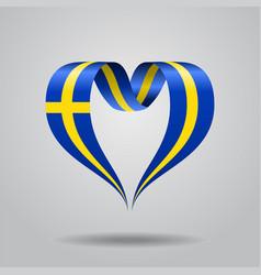 Swedish flag heart-shaped ribbon vector