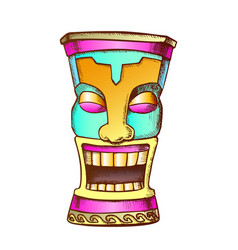tiki idol carved wood funny totem color vector image