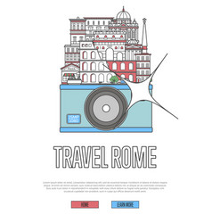 travel rome poster with camera vector image