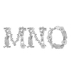 Tropical floral letter mno vector
