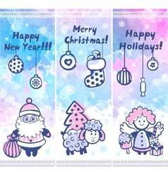 Watercolor christmas set of banners can be used vector