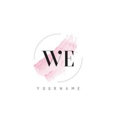 We w e watercolor letter logo design vector
