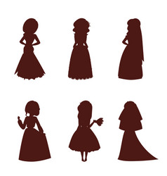 Wedding brides characters silhouette vector