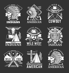 wild west icons and western symbols vector image