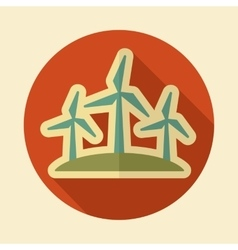 Windmill retro flat icon with long shadow vector