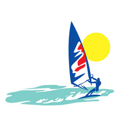 windsurfer in sea vector image