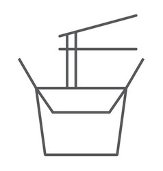 Wok box thin line icon chinese and food noodle vector