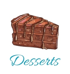 Chocolate cake sketch icon patisserie emblem vector