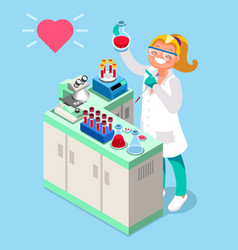 clinical laboratory people isometric icons vector image vector image