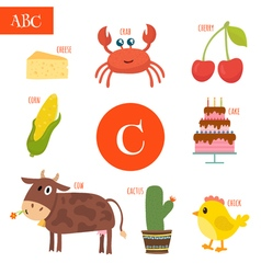 Letter C Cartoon alphabet for children Cake cow vector image