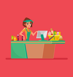 supermarket smiling cashier woman character vector image vector image