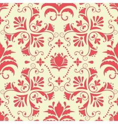vintage damask seamless coral pattern vector image