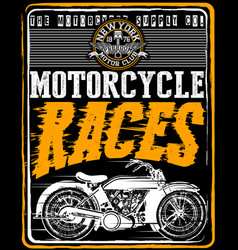 vintage motorcycle t-shirt graphic vector image