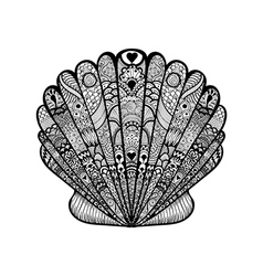 Zentangle stylized black sea shell Hand Drawn vector image vector image