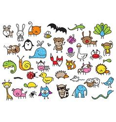 Kids drawing animal doodles vector image