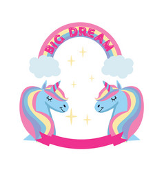 magic unicorn and rainbow poster greeting card vector image
