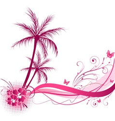 pink palm wave vector image