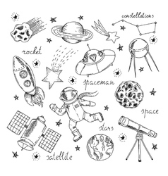 Space Hand Drawn Elements Set vector image