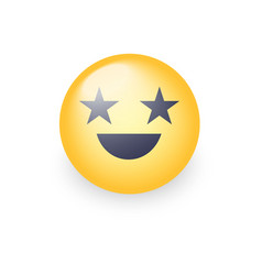 happy laughing emoji face with eyes in the form vector image
