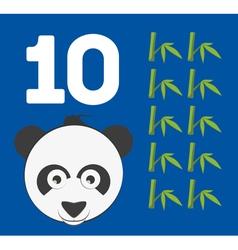 Number 10 - Panda bear with ten bamboo shoots vector image vector image