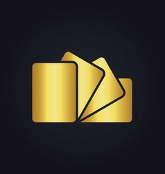 Square gold paper logo vector