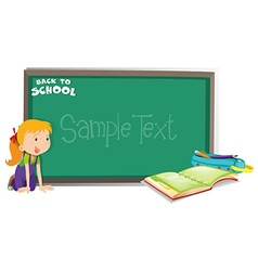 Back to school theme with girl and book vector image vector image