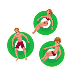 caucasian girl woman man and boy floating on vector image