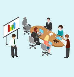 flat 3d isometric business conference vector image vector image