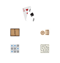 Flat icon entertainment set of labyrinth ace vector